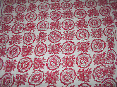 Vintage Floral Red Tablecloth Terry Cloth Rectangle Retro Mod Depression 58 X 82