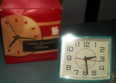 Vintage GE General Electric Clarity Turquoise Telechron Wall Clock in Box
