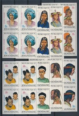 [G89621] Rwanda good imperforated set Very Fine MNH stamps in blocks of 4