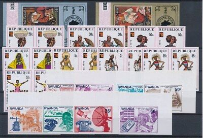 [G89664] Rwanda good imperforated lot Very Fine MNH stamps