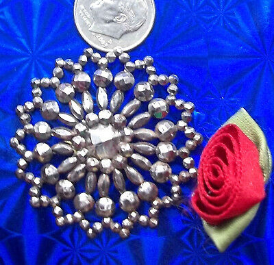 """Sparkly, LARGE, Victorian CUT STEEL BUTTON, 1.5"""", riveted ornate metal antique"""