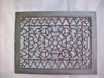 "Vintage Ornate Heat Register Cast Iron Wall Floor Grate Vent  12 1/4"" x 16"""