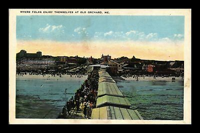 Dr Jim Stamps Us Pier Beach Old Orchard Maine View White Border Postcard