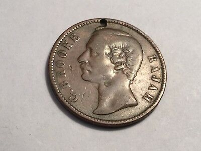 SARAWAK 1870 1 Cent coin, nice condition, small hole at top of head