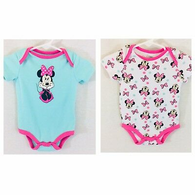 DISNEY MINNIE MOUSE Girls 6-9 Months Set Of 2 Bodysuits S/S Cotton White & Pink