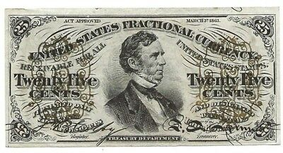Original 1863 25 cents US fractional note, very nice