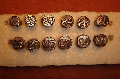 1920s ROUND RAISED RAILROAD DATE NAILS - total 12 – Lot #31 - nail tie vintage