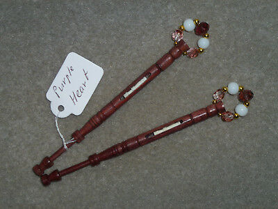LACEMAKING LACE BOBBINS PAIR PURPLE HEART - Mother-and-Babe