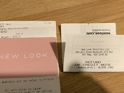 New Look £42.51 Gift Card Credit Note Voucher