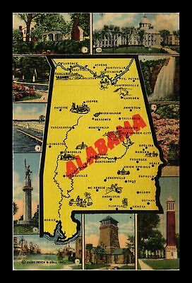 Dr Jim Stamps Us Linen Multiple Views Of Alabama Topical Postcard
