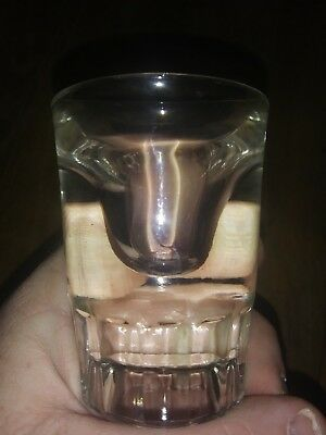 SHOT GLASS - vintage - heavy thick - Rigged Bottom  3 inches - restraunt syle