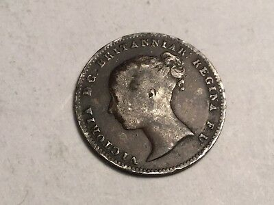 GREAT BRITAIN 1861 three pence small silver coin circulated, some small rim nks