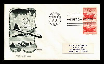 Dr Jim Stamps Us 6C Air Mail Coil First Day Cover Washington Dc Pair C41