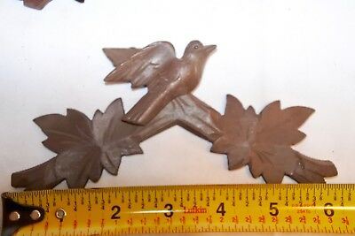 "Vintage Old Wooden Leaves Birds Cuckoo Clock Parts Top Topper Trim 6 1/4"" #a14"