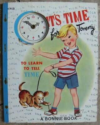 Vintage Bonnie Book ~ IT'S TIME FOR TOMMY with clock hands ~ Very Good!