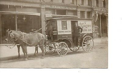 Rppc ~ Teddy Bear Bread ~ Delivery Horse Wagon ~ Detroit ~ Country Store  262