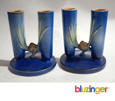 Roseville Pottery Blue Pine Cone Double Bud Vase No.1124 (pair)