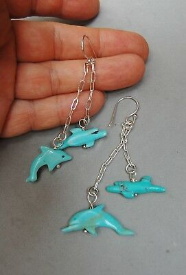 Carved Turquoise Dolphin Earrings Sterling Silver Southwest Indian Chain Dangle