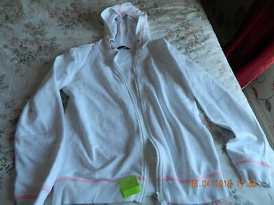 white hooded zip front cardigan aged 12-13 from george at asda
