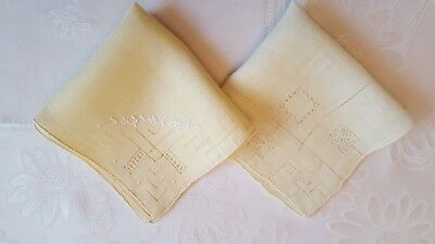 Vintage Lot of 2 Beautiful Pale Yellow Drawnthread Linen Hand Rolled Hankies