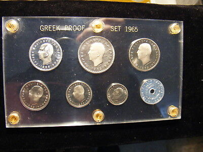 Greece 1965 Proof Set, Seven Coins in a Capital holder, Coins very nice