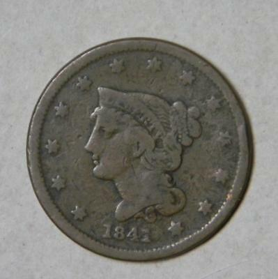 1841 LARGE CENT BRAIDED HAIR IN GOOD CONDITION SMALL RIM BUMP #7172 glb