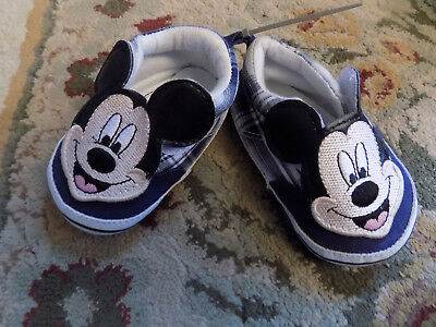 New Disney Mickey Mouse Baby Infant Shoes sz 9 to 12 mo Casual Shoes BLUE PLAID