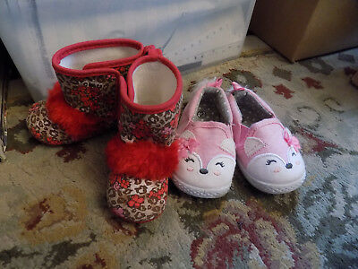 Lot Truly Scrumptious Baby Red Flower Fur Boots & Pink Fox Shoes Sz 2 Soft Cute!