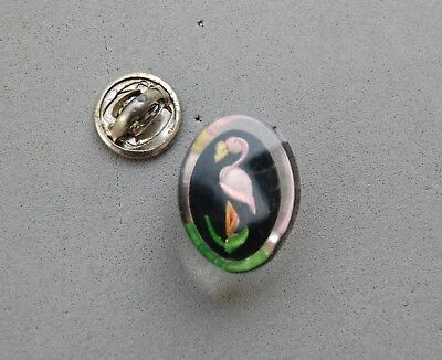 """Lucite Flamingo Bird Tie Tack Lapel Hat Pin Oval Vintage 7/8"""" Reverse Carved"""