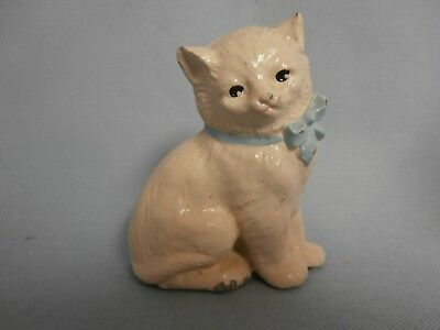 Vintage Antique Cast Metal Kitty Cat Figurine With Blue Bow