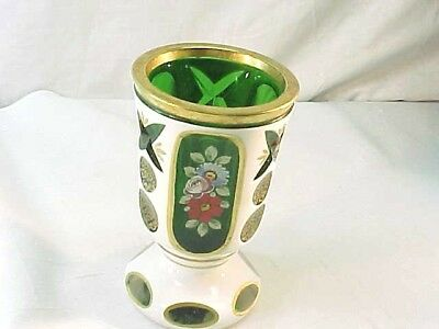 Vintage Bohemian Czech Cased Glass Vase - White Cut to Green With Flowers Vase