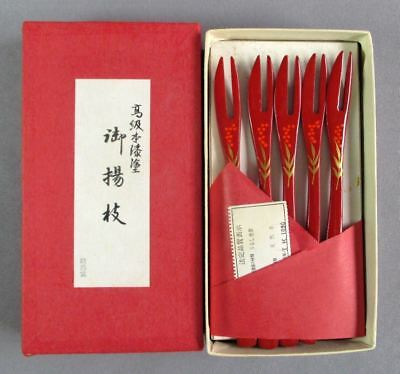 Set of 5 Chinese Red Lacquer Wood Appetizer Tidbit Little Forks New in Box