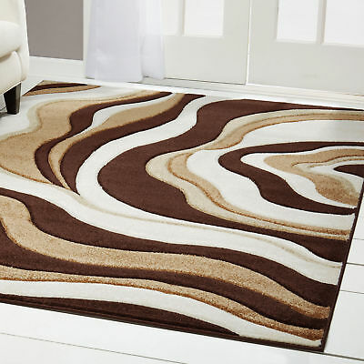 "Brown Modern Swirl 5x5 Area Rug Wavey Stripe Carpet - Approx 5' 2"" x 5' 2"" Round"