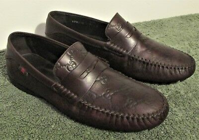486e29301c3 GUCCI Mens SAN MARINO Brown Leather GUCCISSIMA Penny DRIVING Loafers  MOCCASINS