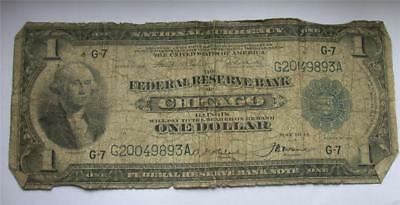 1918 series $1 Federal Reserve Bank CHICAGO ILLINOIS National Currency Note Bill
