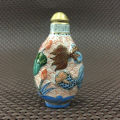 Chinese Antique Rare Porcelain Handwork Fish & Lotus Collectible Snuff Bottle