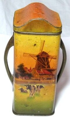 Vintage Antique Dutch Farm Windmill Freisian Cows Figural A1 Biscuit Tin C1936