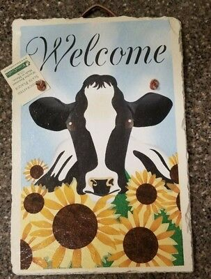 """Handcrafted Cow """"Welcome"""" Slate Plaque New w/ tag by KimsCrafts Made USA"""