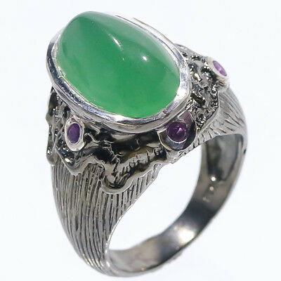Classic Art 14ct+ Natural Chrysoprase 925 Sterling Silver Ring Size 7.25/R02602