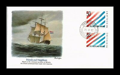 Dr Jim Stamps Us Cover Netherlands Usa Friendship Joint Issue Fdc Pair