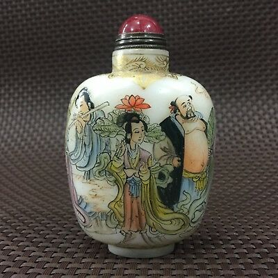 Chinese Collectible Rare Old Coloured Glaze Handwork 8 Immortals Snuff Bottle