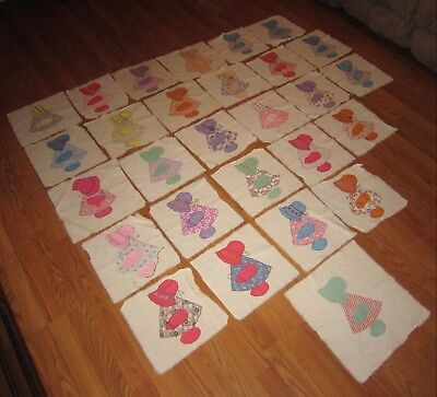 28 Vintage Hand Sewn Sunbonnet Sue Or Holly Hobbie? Patterns On Quilt Squares