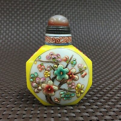 Chinese Rare Collectible Old Coloured Glaze Handwork Plum Blossom Snuff Bottle