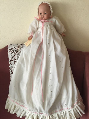 VTG 1988 OOAK Infant Doll Ree-Ree's Bebes with Handmade Christening Outfit