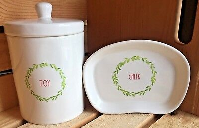 "~Rae Dunn~2018 Christmas~""JOY"" Canister & ""CHEER"" Soap/Trinket Dish~2pc.Set~NEW~"