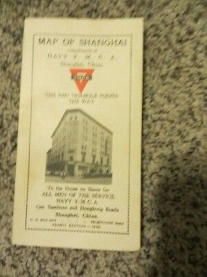 Pre WWII Pocket Map of Shanghai China YMCA 1938 Business Listings Nice