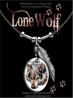"""Lone Wolf Necklace - Wildlife Art - Wild Nature Wolves - 24"""" Leather  Free Ship"""