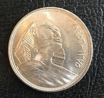 Egyptian silver 20 piastyers coin dated 1956 excellent cond.uncirculated coin.