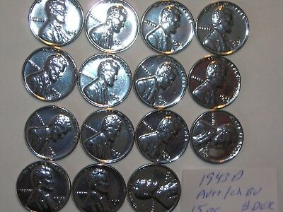 wheat penny 1943D STEEL LOT 15 AU+/CH BU 1943-D LINCOLN CENTS PARTIAL ROLL