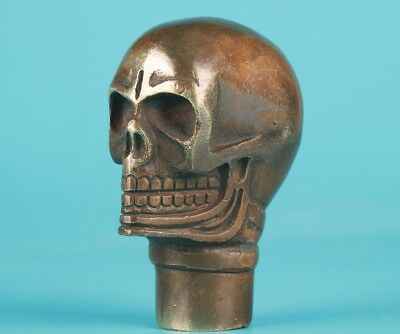 Rare Bronze Hand-Carved Skull Statue Walking Stick Head Old Collection